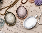 5 Large Oval Pendant Trays With Glass - 30x40mm Oval Pendant Blanks - Bezel Cabochon Settings - Pendant Tray Blanks