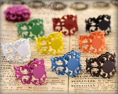 10 Fancy Filigree Colorful Ring Bases - Adjustable Rings - 8mm Pad Ring Blanks - Mix and Match Ring Base