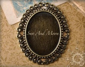 Vintage Setting - 10 Pack - 30x40mm - Antiqued Cabochon Setting Pendant Trays Blanks - (30x40-002)