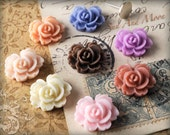 Resin Cabochons - 40pcs Flower Cabochons - 14mm Rose Flat Back - Mix and Match Your Own Colorful Resin Flowers - Chrysanthemum Mum - 14RRF