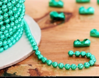 Colored Ball Chain Spool ~ Mint Green ~100 Foot Spool ~ 2.4mm Chain ~High Quality Metal Ball Chain with 100 Connectors  ~ WHOLESALE