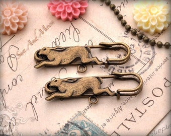 8 Follow Alice Vintage Bronze Rabbit Pins - Antique Style Rabbit Brooch Safety Pins in Antique Brass Finish