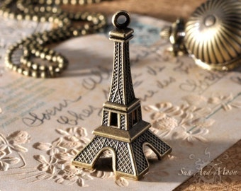 2 Eiffel Tower Pendants - Very High Quality Design - Vintage Bronze Antiqued