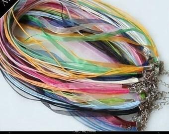 200 Ribbon Necklaces - Rainbow Mix Cords - Colored Organza Necklaces - Organza Cords