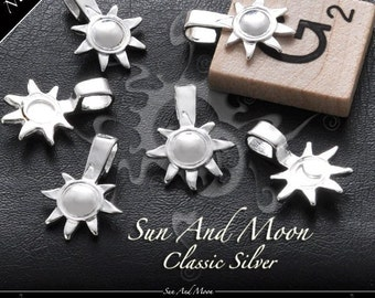 40 Sun And Moon Bails - Small Silver Plated Bails - SSBS
