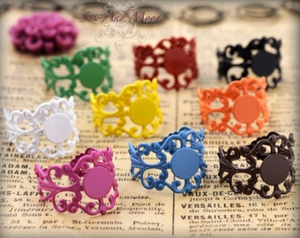 10 Fancy Filigree Colorful Ring Bases - Adjustable Rings - 8mm Pad Ring Blanks - Mix and Match - FRB