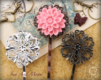 20pcs Vintage Style 20mm Filigree Hairpins - Mix and Match Hair Pins, Bobbypins, Bobby Pins, Bobbipins - 20HPS