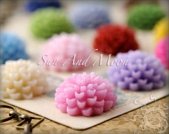 Resin Cabochons - 18mm - 20pcs Flower Cabochons - Chrysanthemum Mum - Flat Back - Mix and Match Your Own Colorful Resin Flowers - 18RF