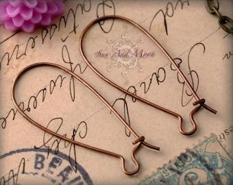 50 pcs - Antiqued Vintage Copper brass Kidney Earwire - 33x14mm - KEW