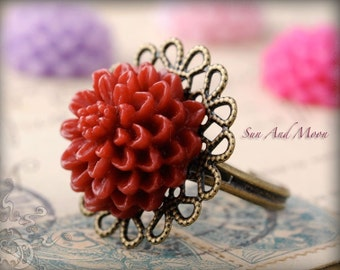 10 Vintage Style Flower Filigree Rings - Mix and Match - Ring Base Blanks - FFR