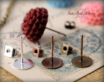 10pcs Earring Posts with Stops - Vintage Finishes - Silver, Antique Bronze, and Antique Copper - EPS