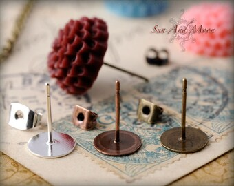 100pcs Earring Posts with Stops - Mix and Match Vintage Finishes - Silver, Antique Bronze, and Antique Copper - EPS