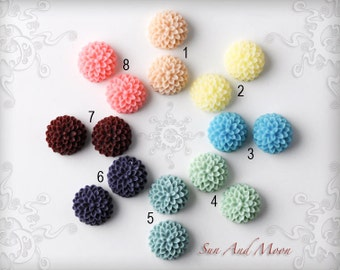 Resin Cabochons - 40pcs Flower Cabochons - Chrysanthemum Mum - 15mm Cameo Flat Back - Mix and Match Your Choice of Colorful Resin Flowers