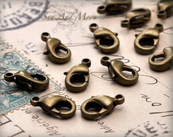 12 X 7mm - 100 Pcs Vintage Style Antiqued Brass Lobster Clasp