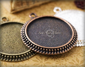 80 - 25mm Vintage Settings -Bezel Tray-Blank Bezels- Mix and Match - Antiqued Cabochon Setting Pendant Tray Blanks - 25VS
