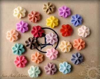 Resin Cabochons - 90pcs Flower Cabochons - Chrysanthemum Mum - 14mm Flat Back - Mix and Match Your Choice of Colorful Resin Flowers - 14RF