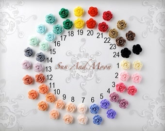 Resin Cabochons - 20pcs - 18mm Rose Flower Cabochons - Mix and Match Your Choice of Colorful Resin Flowers - 18RFR
