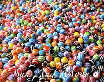 150 Striped Beads 8mm Colorful Mix of Beautiful Resin Acrylic Beads