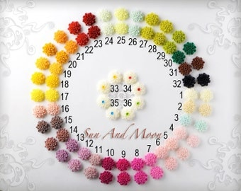 Resin Cabochons - 20pcs Flower Cabochons- 22mm - Mix and Match Your Choice of Colorful Resin Flowers - 22RF