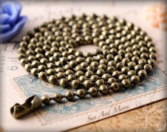10 ECONOMICAL Antique Brass Chain Necklaces - Vintage Bronze Ball Chain from SuN And MoON - 2.4mm - EBBC