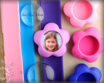 Flower Photo Bracelets - NEW from Sun And Moon, DIY Slap Bracelet Kit, Includes GLASS Tile Dome - Make Unique Valentine's Day Gifts