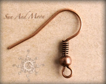 100 pcs of Antiqued Copper Fish Hook Earwire 17mm