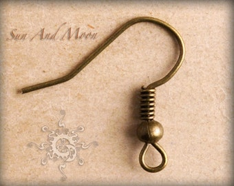 100 pcs of Antiqued Brass Fish Hook Earwire 17mm - Vintage Bronze