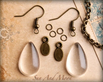 Teardrop Glass Cabochon Earring Kit - 10 Sets - Available in Antique Brass, Antique Copper, and Silver Plated Earring Findings