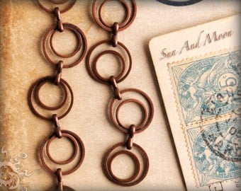 Antique Copper Chain - DOUBLE LOOP Chain - 3 ft - Circle Links  - Antiqued Copper Chain - Vintage Style Necklace and Bracelet Chain