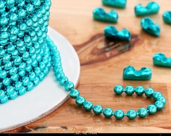Turquoise Colored Ball Chain Spool - 100 Foot Spool - 2.4mm, Perfect For Wooden Scrabble Tiles, Glass Tile, Domino and Bottle Caps