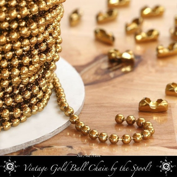 Vintage Gold Colored Ball Chain Spool - 100 Foot Spool Roll - 2.4mm, Perfect For Wooden Scrabble Tiles, Glass Tile, Domino and Bottle Caps