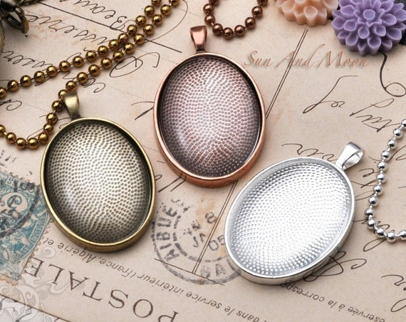 10 Large Oval Pendant Trays - 30x40mm Oval Pendant Blanks - Bezel Cabochon Settings - Pendant Tray Blanks