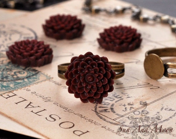 20pcs 15mm Resin Cabochon Flower - Red Wine Color