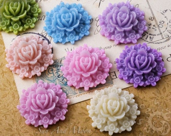 Resin Cabochons - 10pcs Flower Cabochons - 27mm Bouquet of Flowers - Mix and Match Your Choice of Colorful Resin Flowers - 27RFB