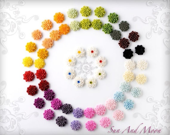 Resin Cabochons - 100pcs Flower Cabochons - 22mm - Mix and Match Your Choice of Colorful Resin Flowers