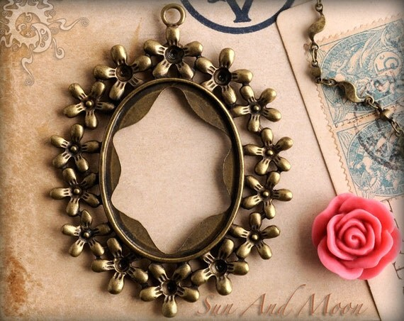 Vintage Setting - 10 Pack - 30x40mm - Antiqued Bronze Brass Cabochon Setting Pendant Trays Blanks - (30x40--010)