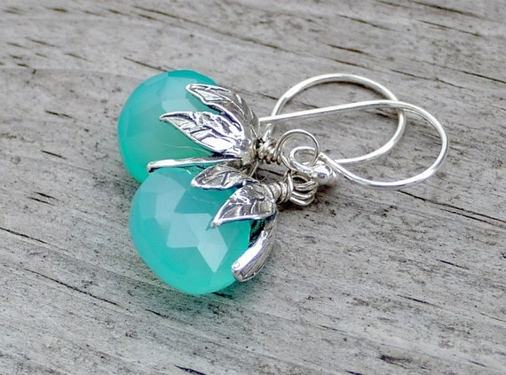 Caribbean Aqua Blue Chalcedony and Sterling Silver Earrings