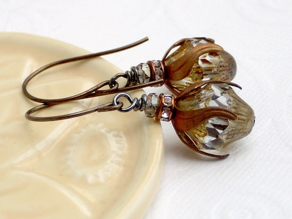 Picasso Czech Turbine Glass Bead Vintaj Brass Dangle Earrings