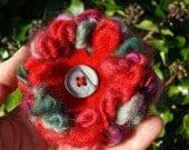 Fleur- Winter Berry Wool and Felt Flower Brooch
