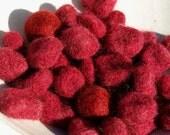 Upcycled Wool Felt Beads- Cherry