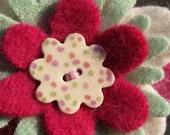 Petite Felt Flower Brooch- Pastels