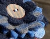 Petite Felt Flower Brooch - Bluey