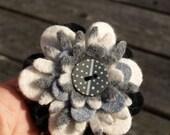 Petite Felt Flower Brooch - monochrome