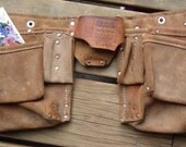 Leather TOOL BELT, Vintage Pouch,  bag, metal clasp, fun and funky carryall, Square Pockets, USA made