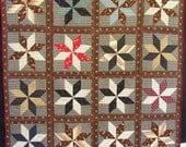Res for Susie 1890 s VINTAGE STAR QUILT, Graphic, Gorgeous,  Brown, Red, Black, hand sewn, homespun back, fab fabrics