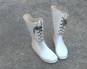 WHITE RUBBER BOOTS, Viking, Norway, Vintage, orthopedisk, euro 38, winter cool