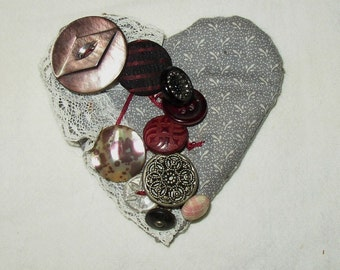 Sweetest HEART PIN CUSHION...Needles, Home made,Vintage Buttons, Lace, Fabric...Sewing Accessory
