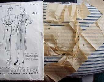 ADORABLE C 1950 DRESS, FROCK PATTERN, STYLISH, BEGINNER, BUTTERICK