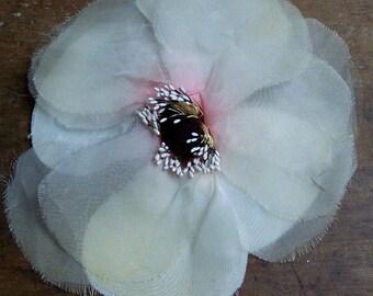 PRETTY VINTAGE FABRIC FLOWER..WHITE ORGANZA,  FASCINATOR,  MILLINERY