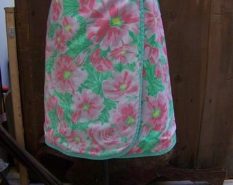 VINTAGE WRAP SKIRT...mid century, floral, wrap around, 1970 s, spring colors
